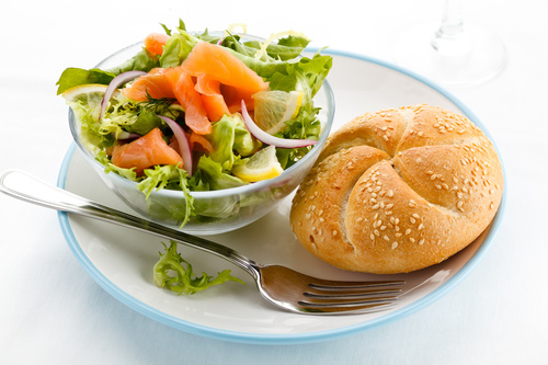 Sesame bread and mixed vegetable salad Stock Photo