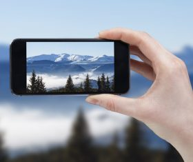 Shooting natural scenery with smart phones Stock Photo