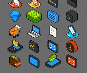 Shopping and Finance – isometric outline color icons