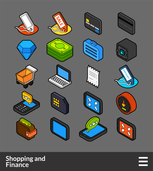 Shopping and Finance   isometric outline color icons