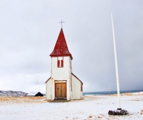 Simple architecture of old church on seaside Stock Photo