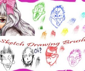 Sketch Drawing Head Photoshop Brushes