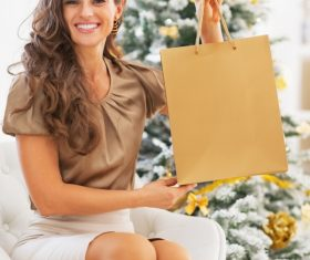 Smiling young woman with shopping bags near christmas tree 05