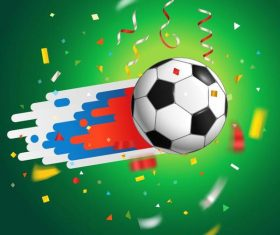 Soccer background with confetti vector