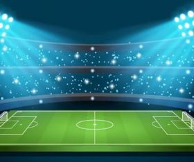Soccer stadiums background with sportlight vector 01