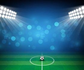 Soccer stadiums background with sportlight vector 02