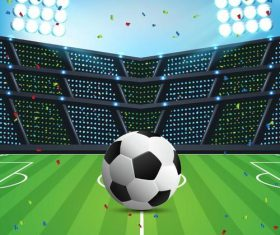 Soccer stadiums background with sportlight vector 04