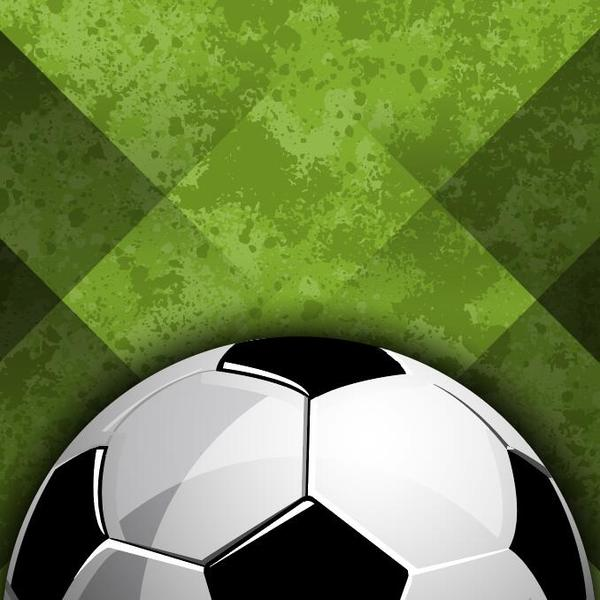 Soccer with green grunge background vector