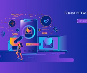 Social network design concept vector