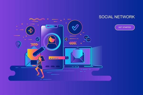 Social network design concept vector