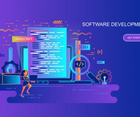 Software development flat design concept vector