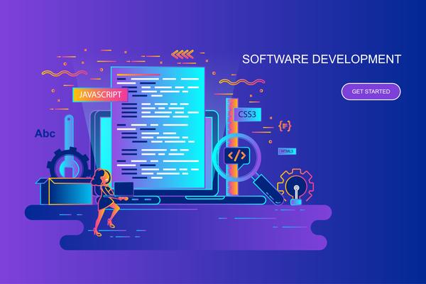 Software development flat design concept vector