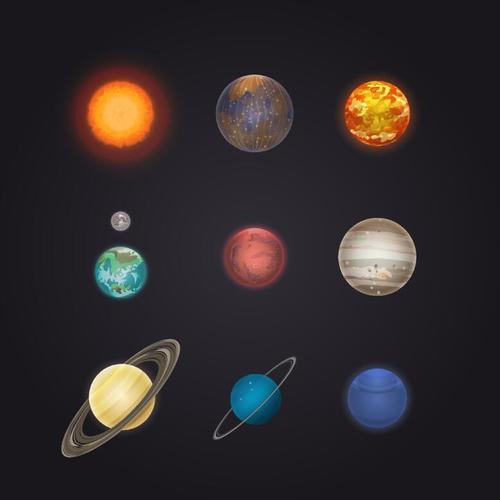 Solar system planet illustration vector 04