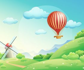 Spring Landscapes with hot balloon vector