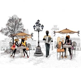 Street cafe couple glass vector