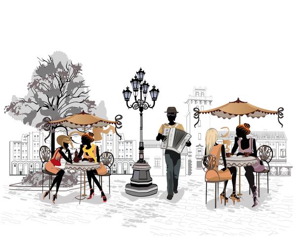 Street cafe couple glass vector