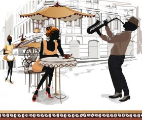 Street side cafe with leisurely people vector 01