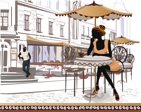 Street side cafe with leisurely people vector 02