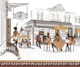 Street side cafe with leisurely people vector 03