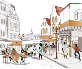 Street side cafe with leisurely people vector 04