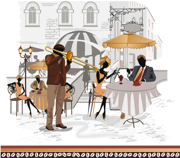 Street side cafe with leisurely people vector 05