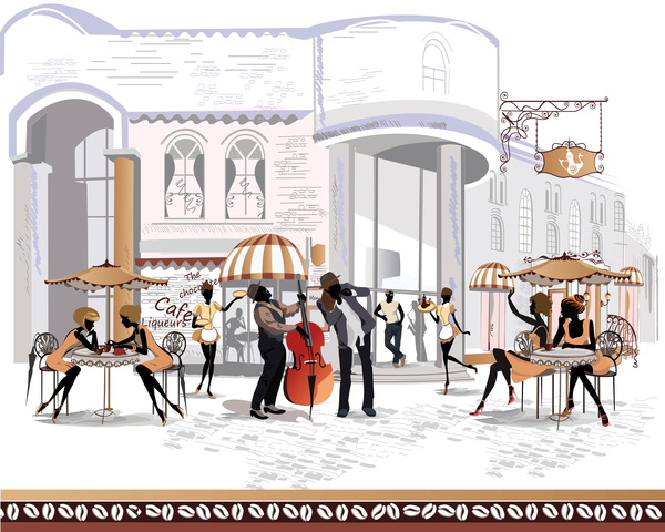 Street side cafe with leisurely people vector 06