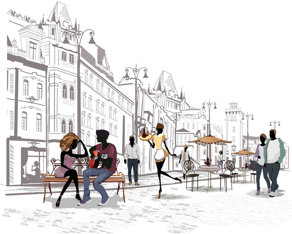 Street side cafe with people vector