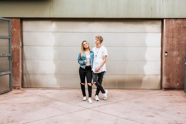 Street trend couples Stock Photo