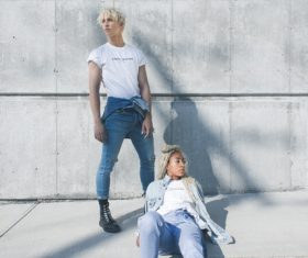 Stylish models couple posing in casual style Stock Photo