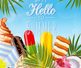 Summer background with ice cream and fruits vector