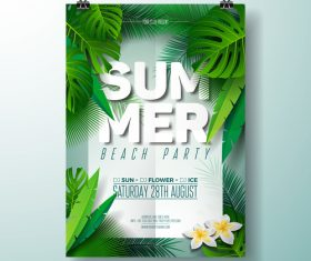 Summer beach party poster templates vector set 02