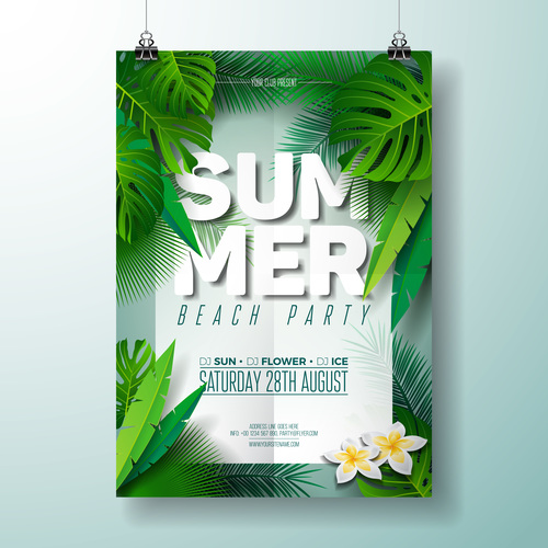 Summer beach party poster templates vector set 02
