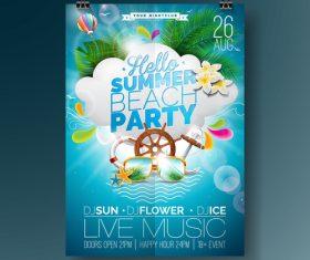 Summer beach party poster templates vector set 06