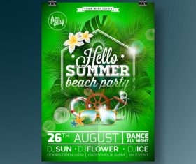 Summer beach party poster templates vector set 07