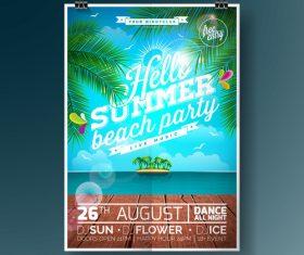 Summer beach party poster templates vector set 08
