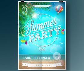 Summer beach party poster templates vector set 09