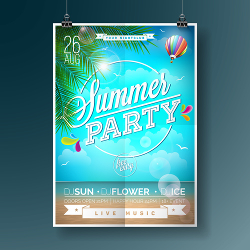 Summer beach party poster templates vector set 09