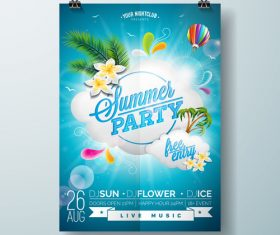 Summer beach party poster templates vector set 10