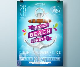 Summer beach party poster templates vector set 11