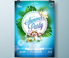 Summer beach party poster templates vector set 12
