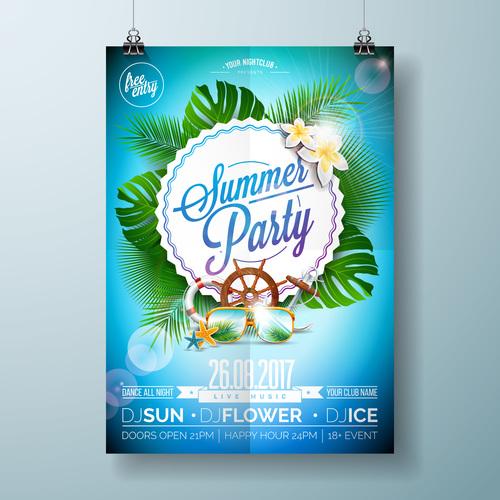 Summer beach party poster templates vector set 12