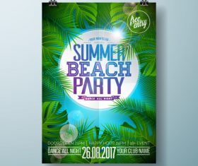 Summer beach party poster templates vector set 13