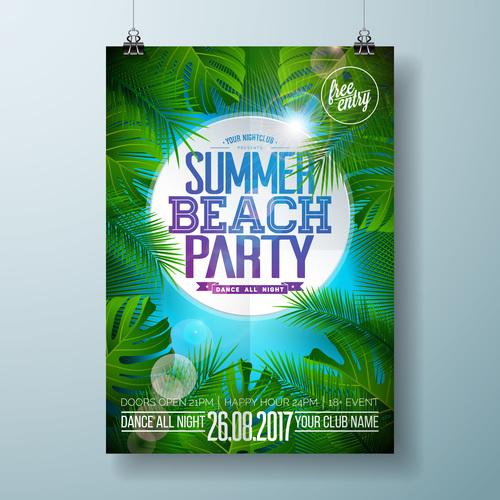 Summer beach party poster templates vector set 13