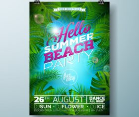 Summer beach party poster templates vector set 14