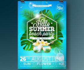 Summer beach party poster templates vector set 15