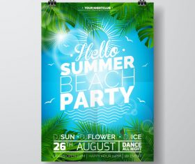 Summer beach party poster templates vector set 16