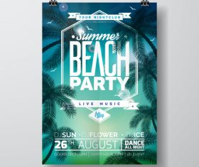 Summer beach party poster templates vector set 17