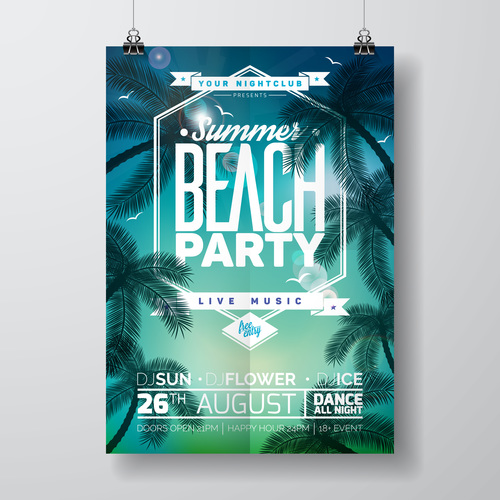Summer beach party poster templates vector set 17