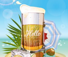 Summer drinks poster template vectors 01