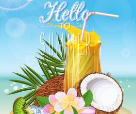 Summer drinks poster template vectors 02